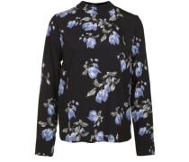 Bluse 'blossom High Neck' nachtblau