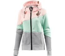 Fleecejacke grau / mint / rosa