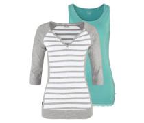 Shirt (Set 2 tlg. mit Top) türkis / graumeliert / weiß
