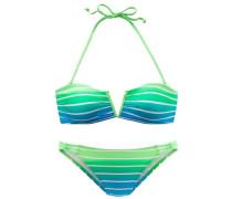 Bandeau-Bikini himmelblau / neongrün