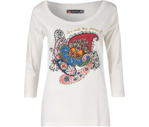 3/4-Arm-Shirt mischfarben / weiß