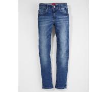 Skinny Seattle: Crinkle-Jeans blau