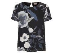 Blumen-Bluse mit 2/4 Ärmeln blau / schwarz / weiß
