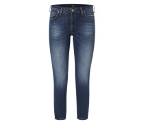 'Scarlett Cropped' Jeans mit Zipper-Details blau / blue denim / dunkelblau