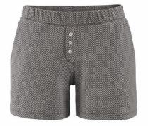 Shorts mit feinem Print und Knopfleiste grau