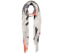 Langer gemusterter Schal grau / orange / weiß