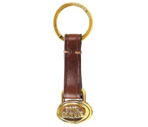 Story Uomo Schlüsselanhänger Leder 7.5 cm kastanienbraun / gold