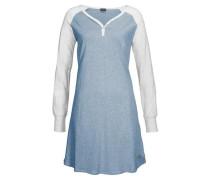Langarm-Nachthemd blaumeliert / graumeliert