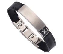 Armband mit Tribal und Lederband schwarz