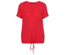 Shirt-Bluse mit Bindeband am Saum rot