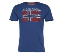 T-Shirt mit Logo-Applikation 'Surl' dunkelblau