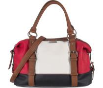 'Juna' Handtasche braun / rot / weiß