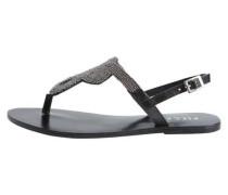 Leder Perlen-Sandalen schwarz