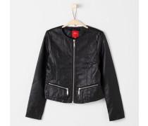 Jacke in Leder-Optik schwarz