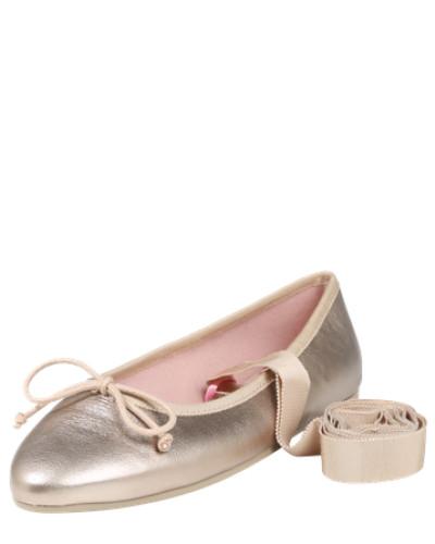 Ballerina mit Schleifen-Applikation und Schnürung gold