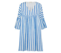 Kleid 'gathered' blau / weiß