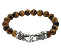Stretch-Armband »Tigerauge« braun / silber