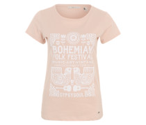 T-.Shirt mit Boho-Print rosa / weiß