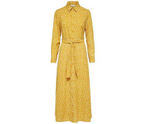 Kleid mit langen Ärmeln Print gelb