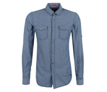 Slim: Hemd mit Dobby-Struktur taubenblau