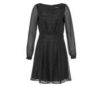 Lurex-Kleid mit Diagonalstreifen schwarz