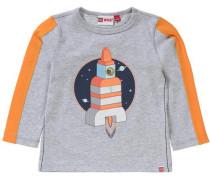 Baby Langarmshirt für Jungen marine / graumeliert / orange / weiß