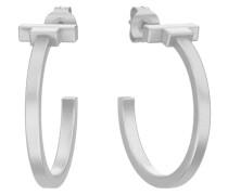 PJS runde Sterlingsilber-Ohrringe silber