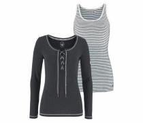 Langarmshirt (Set 2 tlg. mit Top) schwarz / weiß