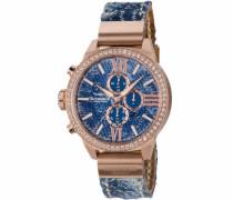 Chronograph 'Jeani Dsc-08' blue denim / rosegold