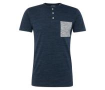 T-Shirt 'hen mel ctr po' navy / blaumeliert / grau