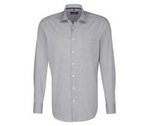 City-Hemd 'Modern' grau / weiß