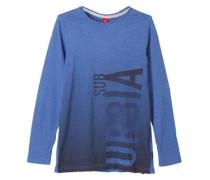 Slim: Longshirt mit Print blau