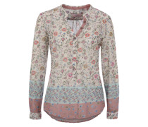Langarmbluse 'Flowers' mischfarben / rosé / offwhite
