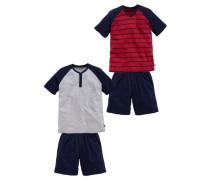 Pyjama lang (2 Stück) dunkelblau / grau / rot