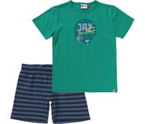 Schlafanzug 'ninjago' für Jungen blaumeliert / smaragd