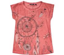 T-Shirt für Mädchen dunkelgrau / orange / weiß