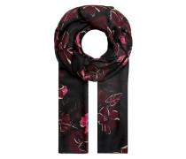 Schal mit Flower-Print schwarz