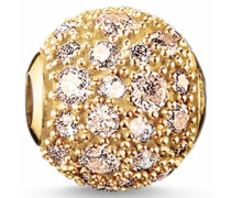 Bead 'Karma Bead Crushed Pavé K0098-414-3' champagner / gold