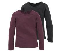 Langarmshirt mit Rundhalsausschnitt bordeaux / schwarz