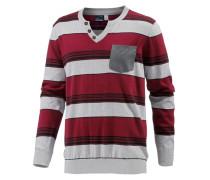 V-Pullover grau / rot