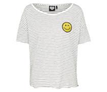 T-Shirt 'smiley Stripe' schwarz / naturweiß