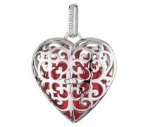 Halsschmuck: Anhänger ohne Kette mit Klangherz rot 'Herz Erp-05-Heart-L' silber