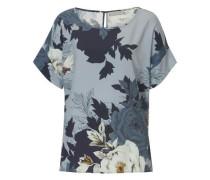 Bluse mit floralem Print hellblau / dunkelblau