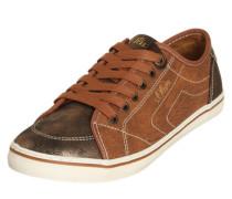 Sneaker in Reptil-Optik cognac