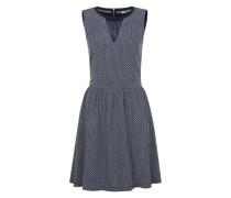 Kleid mit Allover-Print navy / weiß
