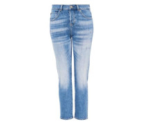 Denim Girlfriend-Jeans aus Candiani blau
