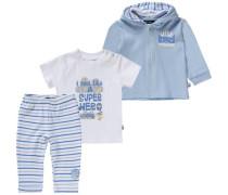 Baby Set Sweatjacke + T-Shirt + Sweathose für Jungen blau / hellblau / hellgelb / weiß