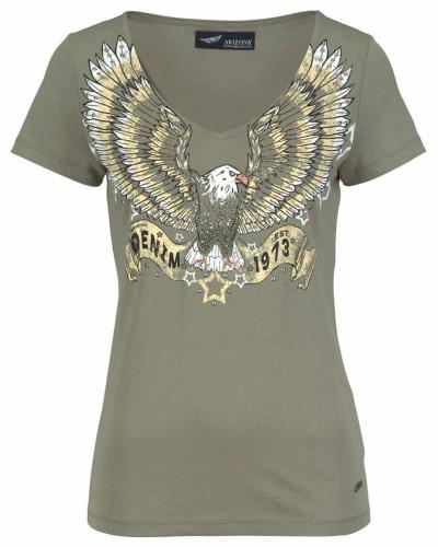 V-Shirt 'mit Denim Print' khaki / weiß