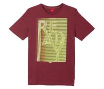 Shirt mit gummiertem Neon-Print dunkelrot