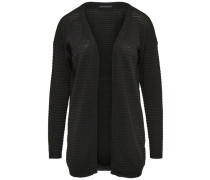 Struktur-Strick-Cardigan schwarz